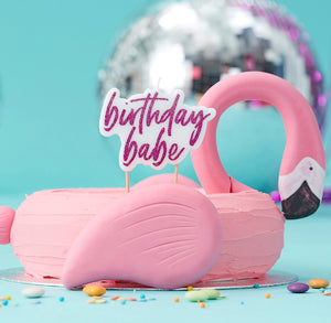 Birthday Babe Pink Glitter Candle | www.bakerspartyshop.com