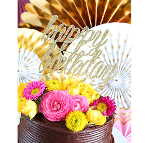 Gold Glitter Happy Birthday Cake Topper | www.bakerspartyshop.com