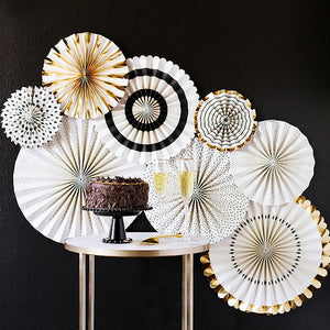 Black and Gold Party Fans | www.bakerspartyshop.com