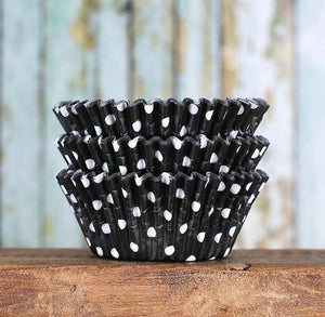 Black Cupcake Liners: Polka Dot | www.bakerspartyshop.com