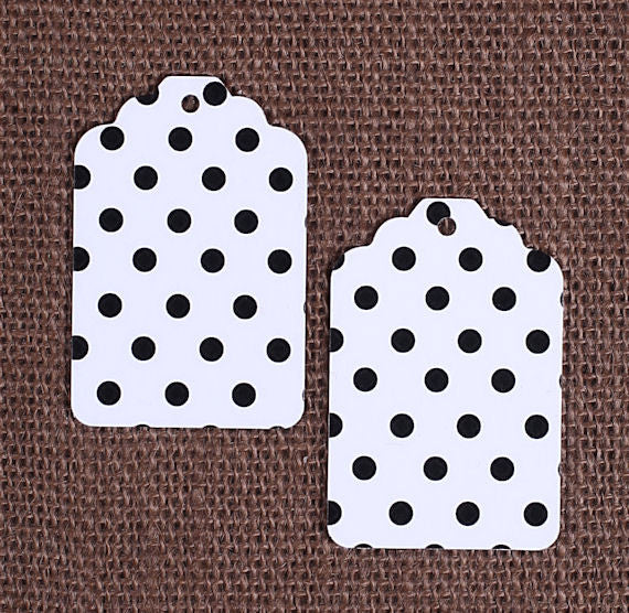 Black Gift Tags: Polka Dot | www.bakerspartyshop.com