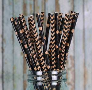 Kraft and Black Paper Straws | www.bakerspartyshop.com