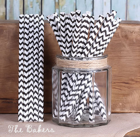 "Black Cake Pop Sticks: Chevron (6"") 