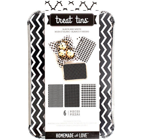 Large Treat Tins: Black and White | www.bakerspartyshop.com