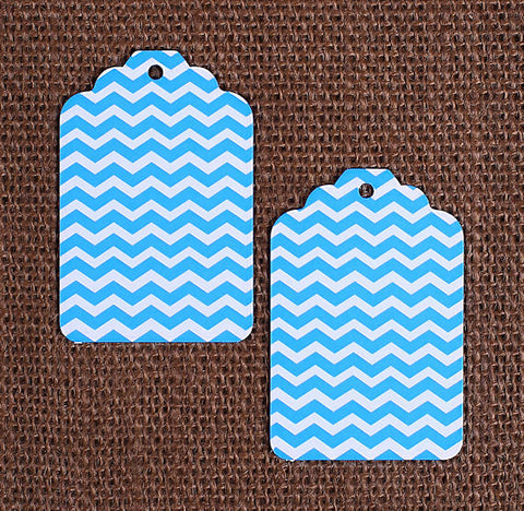 Blue Gift Tags: Chevron | www.bakerspartyshop.com
