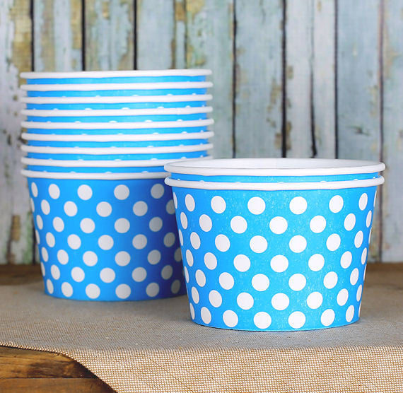 Large Blue Ice Cream Cups: Polka Dot | www.bakerspartyshop.com