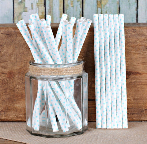 "Light Blue Cake Pop Sticks: Polka Dot (6"") 