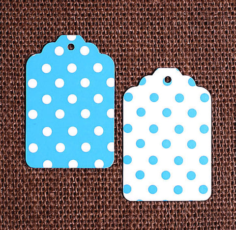 Blue Gift Tags: Polka Dot | www.bakerspartyshop.com