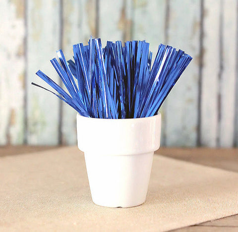 "Metallic Blue Twist Ties (4"") 