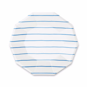 Striped Small Blue Plates | www.bakerspartyshop.com