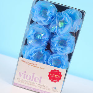 Violet Flower Candy Cups: Pearly Blue | www.bakerspartyshop.com