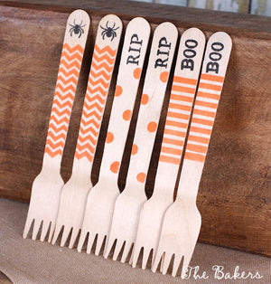 Halloween Wooden Small Dessert & Cake Forks (18) | www.bakerspartyshop.com
