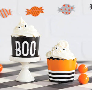 Halloween Baking Cups: Boo + Striped | www.bakerspartyshop.com
