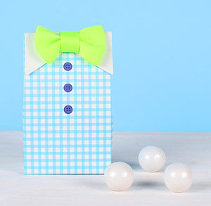 Baby Shower Favor Boxes: Bow Tie | www.bakerspartyshop.com