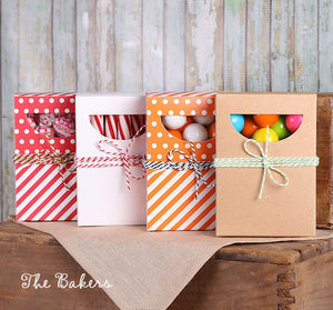 Rectangle Candy Boxes with Windows: Orange | www.bakerspartyshop.com