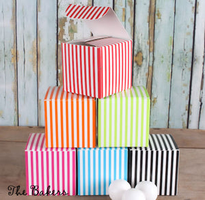 Small Striped Candy Boxes | www.bakerspartyshop.com