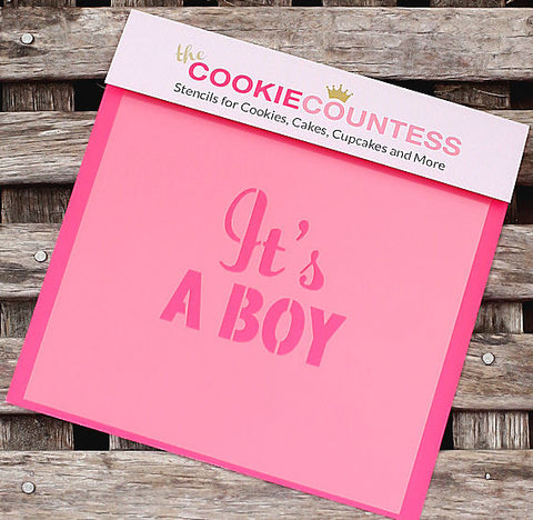 It's a Boy Cookie Stencil | www.bakerspartyshop.com