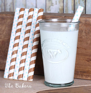 Thick Brown & Light Blue Paper Straws | www.bakerspartyshop.com