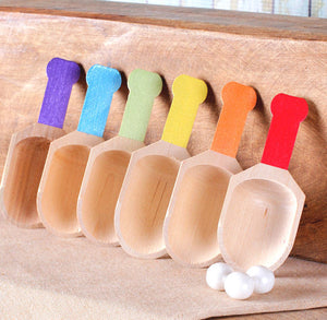 Boys Rainbow Small Wooden Candy Scoops | www.bakerspartyshop.com