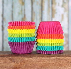 Mini Bright Rainbow Cupcake Liners | www.bakerspartyshop.com
