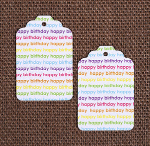 Bright Rainbow Happy Birthday Gift Tags | www.bakerspartyshop.com