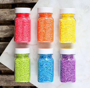Bright Rainbow Shimmer Jimmies Sprinkles Set | www.bakerspartyshop.com