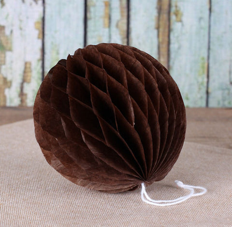 Brown Honeycomb Tissue Balls: 3"