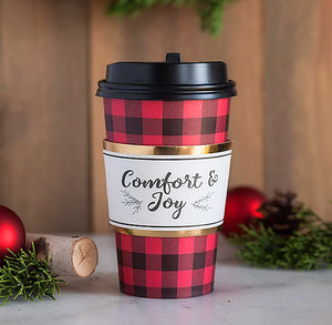 Christmas Travel Coffee Cups: Buffalo Check | www.bakerspartyshop.com