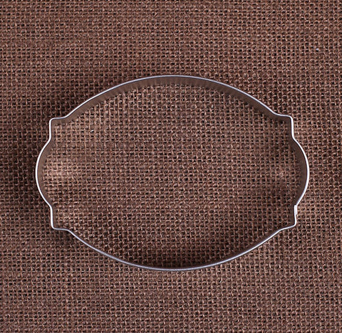 Cameo Plaque Oval Cookie Cutter | www.bakerspartyshop.com