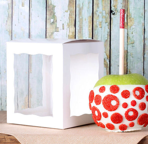 White Candy Apple Boxes | www.bakerspartyshop.com