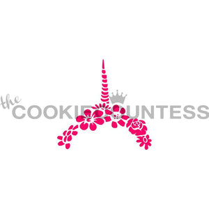 Unicorn Horn & Flowers Cookie Stencil | www.bakerspartyshop.com
