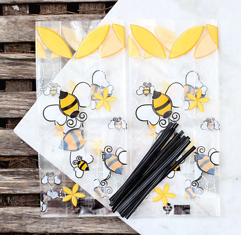Bumble Bee Cellophane Bags & Twist Ties: Small | www.bakerspartyshop.com