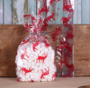 Red Reindeer Cellophane Bags & Twist Ties: Small | www.bakerspartyshop.com