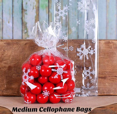 snowflake cellophane bags twist ties
