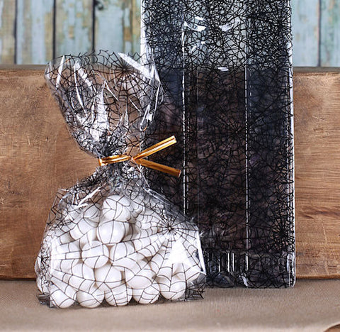 Spider Web Cellophane Bags & Twist Ties: Small | www.bakerspartyshop.com