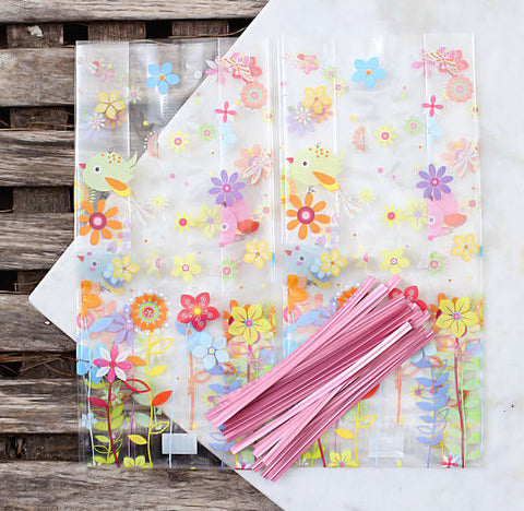Spring Flowers Cellophane Bags & Twist Ties: Small | www.bakerspartyshop.com
