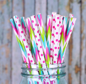 Pink Paper Straws: Polka Dot and Chevron | www.bakerspartyshop.com