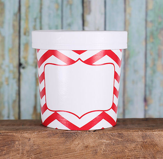 Small Red Takeout Cups: Chevron | www.bakerspartyshop.com