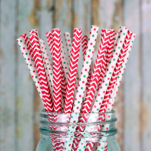 Christmas Paper Straws: Mini Polka Dots | www.bakerspartyshop.com