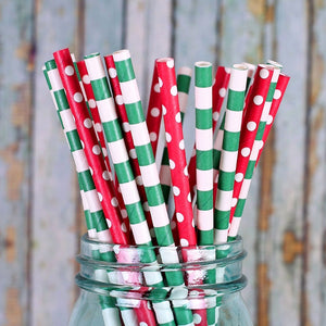 Christmas Paper Straws: Classic | www.bakerspartyshop.com