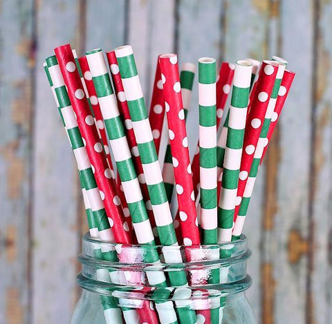 Christmas Paper Straws | www.bakerspartyshop.com