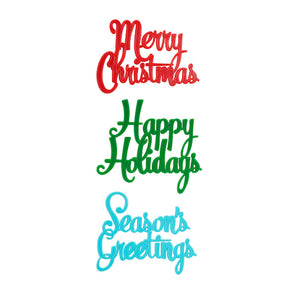 Christmas Cake Toppers: Holiday Greetings | www.bakerspartyshop.com