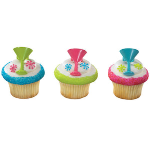 Cocktail Cupcake Topper Rings | www.bakerspartyshop.com