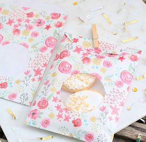 Pink Floral Favor Bags | www.bakerspartyshop.com