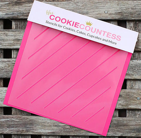 Diagonal Thin Stripe Cookie Stencil | www.bakerspartyshop.com