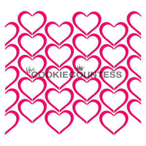 Outlined Hearts Cookie Stencil | www.bakerspartyshop.com