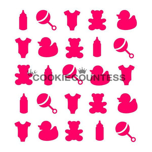 Baby Items Cookie Stencil | www.bakerspartyshop.com