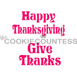 Thanksgiving Phrases Cookie Stencil | www.bakerspartyshop.com
