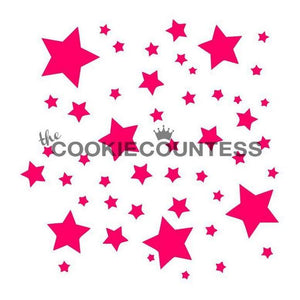 Scattered Stars Cookie Stencil | www.bakerspartyshop.com