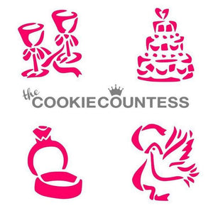Whimsical Wedding Cookie Stencil | www.bakerspartyshop.com